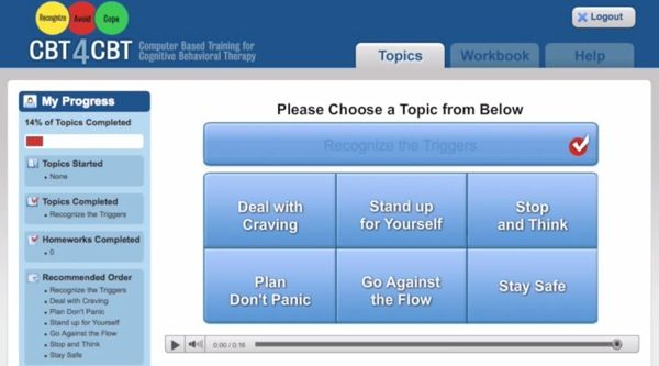This is a screen grab from the CBT4CBT program demo video.