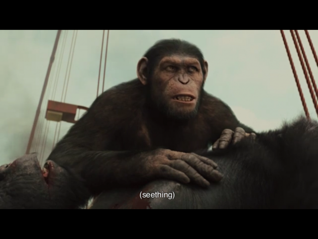 Scene from Rise of the Planet of the Apes -- Caesar is captioned as seething.