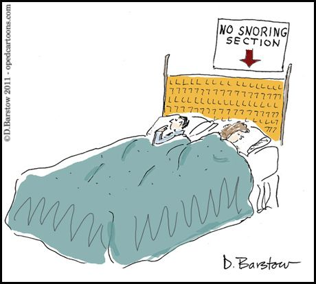 cartoon of man and woman sleeping, and on her side of bed is a sign No snoring