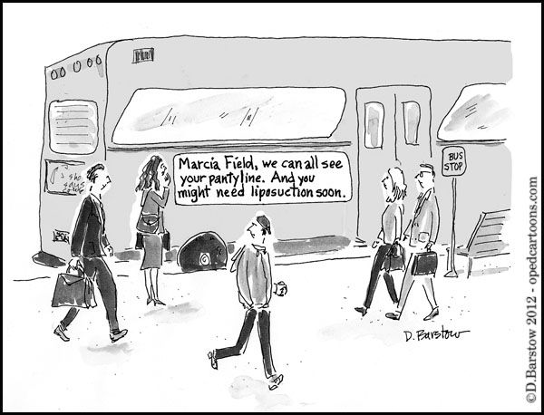 cartoon of woman who sees sign on bus that everyone is staring at her