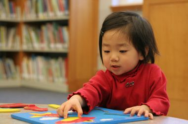 Asian Kindergarten Girl Education Puzzle Cute Kid
