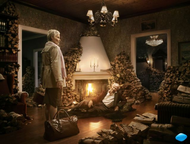 Viagra ad from Finland, where man has filled entire house with chopped wood