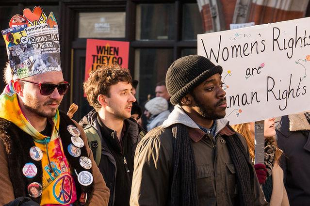 Women's march, London Jan 2017, Three Wise Men, by Kathryn Alkins, Flickr (CC BY-NC-ND 2.0)