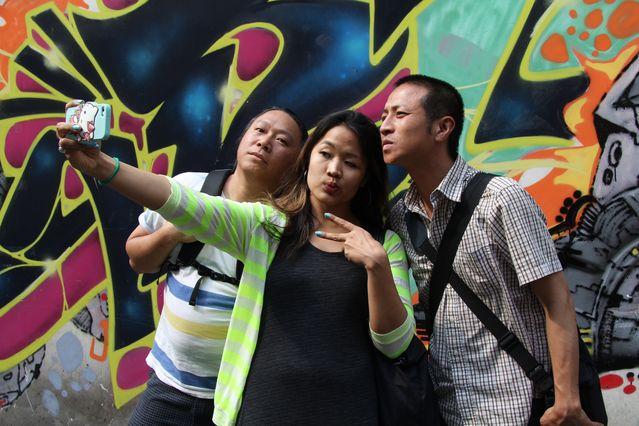 Vietnamese American Selfie in Saigon, with filmmakers Ham Tran, Jenni Trang Le and Tony Nguyen; by Ravi Chandra