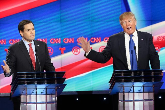 Republican presidential candidates, Sen. Marco Rubio (R-FL) and Donald Trump argue during the Republican presidential debate at the Moores School of Music at the University of Houston on February 25, 2016 in Houston, Texas. The debate is the last before the March 1 Super Tuesday primaries. (Photo by Michael Ciaglo-Pool/Getty Images)