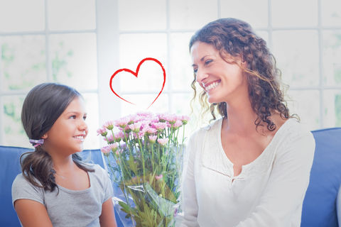 Composite-image-heart-against-happy-mother-daughter-sitting-couch-flowers-image53739097