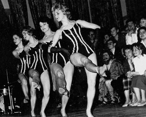 """This early 1960s photograph shows a performance from a scene in a Soviet opera, named """"Arkhimed,"""" held at a Soviet club. The photograph comes from the private archive of M. A. Lebedeva. For more on """"Arkhimed,"""" see my published scholarly work (Tsipursky, """"Having Fun"""")."""