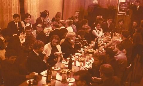 """This photograph shows a banquet held after a performance of """"Arkhimed."""" The photograph also comes from the private archive of M. A. Lebedeva."""