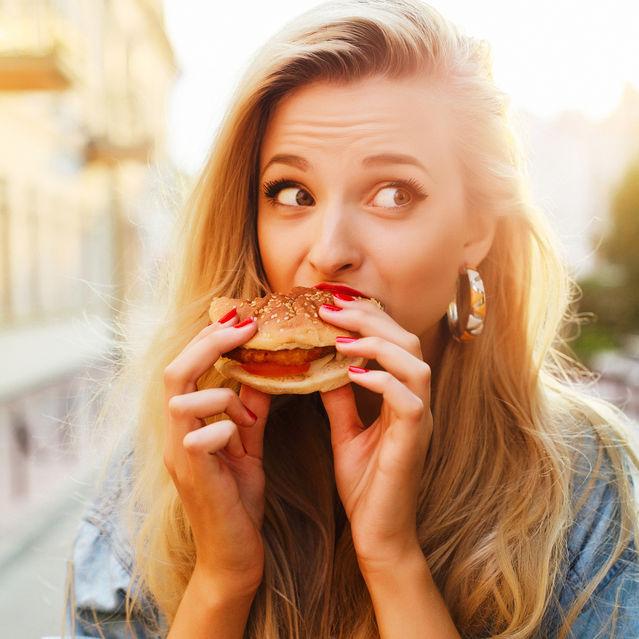 Girl eating food thanks you