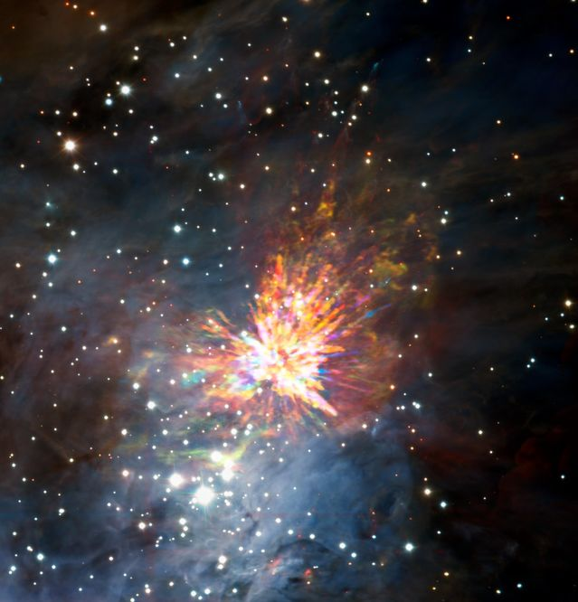 ALMA (ESO/NAOJ/NRAO), J. Bally/H. Drass et al.