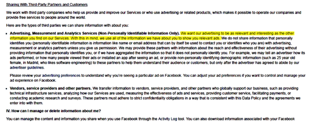 Screen shot from Facebook Terms and Conditions.