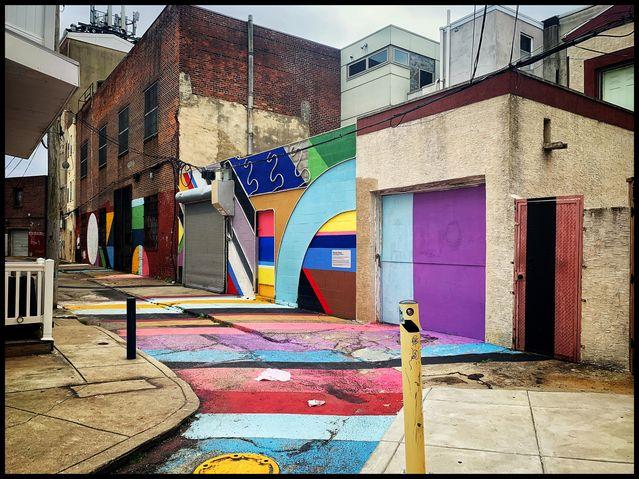 """The Electric Street"" by mural artist David Guinn and lighting designer Drew Billiau. Photo by Anjan Chatterjee."