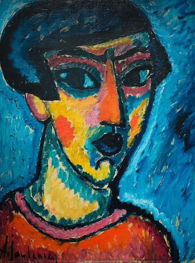 """Kopf in Blau"" by Alexej von Jawlensky, from Wikimedia Commons."