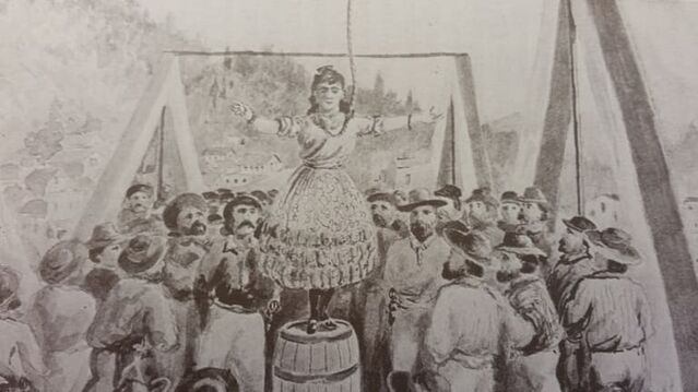 Artist's rendition of the lynching of Josefa of Downieville / Huntington Library
