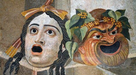 Mosaic with scenic masks/Wikimedia Commons, public domain