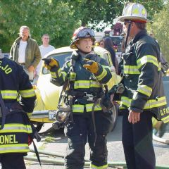 Image: Kathryn Harpold, firefighter, at work