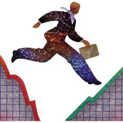 Image: Business man leaping a rising and falling stock chart