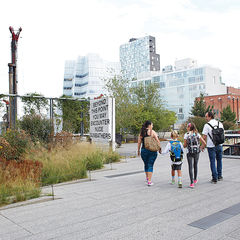 Image: Lublin and family walk the nyc high line