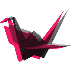 Image: red origami crane