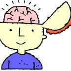 Cartoon image of head with brain exposed