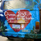 Bus mural: Choose love, its superior to hate