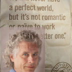 Steven Pinker superimposed on photo of Chipotle's bag