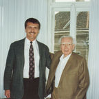 Dr. Alex Pattakos with Dr. Viktor Frankl in his study, Vienna, Austria, 1996