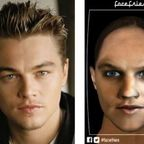 Leonardo DiCaprio (left) and 3D, animated, talking avatar of his his female self (right).