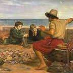 A seafarer telling his story, Everett Millais, oil on canvas, 1870.