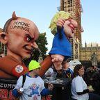 People's vote march, in October 2019, the Demonic Cummings sculpture