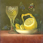 Lemon with wine goblet