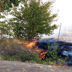Brushfire in Bulgaria, near the Romanian border.