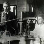 Marie and Pierre in the lab, c. 1904
