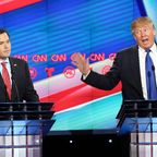 HOUSTON, TX – FEBRUARY 25: Republican presidential candidates, Sen. Marco Rubio (R-FL) and Donald Trump argue during the Republican presidential debate at the Moores School of Music at the University of Houston on February 25, 2016 in Houston, Texas. The debate is the last before the March 1 Super Tuesday primaries. (Photo by Michael Ciaglo-Pool/Getty Images)