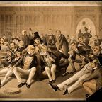 Politicians in the smoking room of the House of Commons; From Wellcome Images