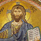 """Cefalu Christus Pantokrator cropped"" Photo by Andreas Wahra, Wikimedia Commons,"