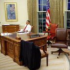 """Testing out different chairs in the White House."" The Official White House Photostream via Wikimedia Commons"