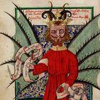 Satan distributing indulgences By Janíček Zmilelý z Písku (?) - Jenský kodex, Public Domain, 1490s