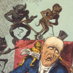 """Kopfschmerzen"""". Die wohl berühmteste – stark von James Gillray beeinflußte – Arbeit in einer Reihe von sechs Blättern """"medizinischer"""" Karikaturen, in denen Cruikshank Krankheiten als Teufelswerk brandmarkt. Erstmalig publiziert: 12. Februar 1819. Originalgröße: 210 x 255 mm: Wikimedia commons"""