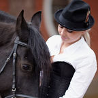 "Royalty Free - Azaliya | Dreamstime.com - photo-girl-horse-portrait-black-communicates-beautiful-equestrian-sport-image 49761068#res9815805"" Girl and horse"