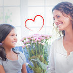 Dreamstime.com Royalty Free: Composite-image-heart-against-happy-mother-daughter-sitting-couch-flowers-image53739097