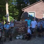 Glenn Geher; Katahdin Hiking Club members at Pinkham Notch base camp: (L-R) Steve Jury, Peter Camelo, Mike Calzone, Eric McDonald, Larry Sisle, Jeff Foy, Glenn Geher, Roy Leonardson