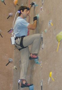 Weihenmayer wall climbing with aid of the tongue-display unit.