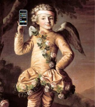 Artist's rendering of cupid, with iPhone