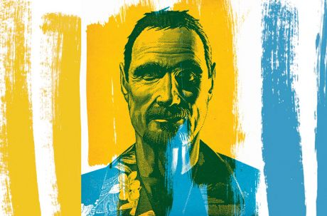 John McAfee and yellow and blue paint smears