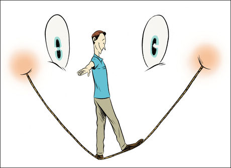 Man walking on the smile of a smiley face like a tightrope